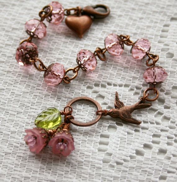 Nature's Beauty Charm Bracelet In Pale Rose