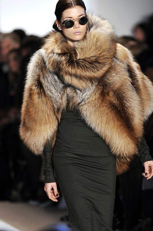 perfectly draped fur  I'm not so into new furs but a vintage fur can easily be re-styled into a show stopper like this!!
