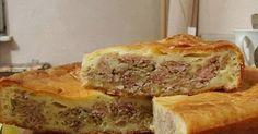 Тесто:  250 грамм майонеза  250 грамм сметаны  3 яйца  300-350 грамм муки  1 ч. л. гашеной соды  соль   Начинка:  300 грамм фарша  400 ...
