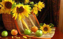 gyümölcs napraforgó virágcsokor és dekoráció alma