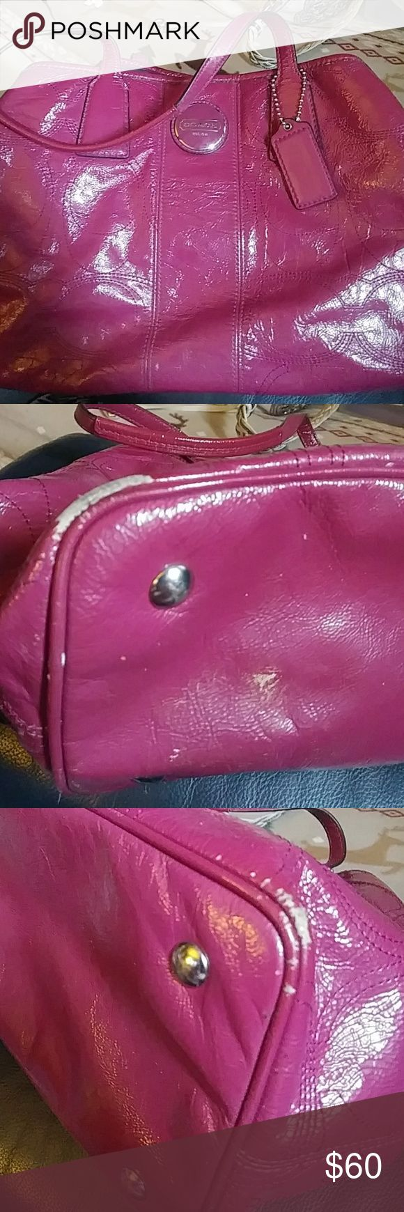 Pink coach purse Snap pink coach purse. Well loved and has tons of life left. Very nice statement piece to any outfit. There are dark markings on back of bag. Never tried cleaning it. Also wear on bottom of purse. This is not a new purse. No box or dust bag with it. Price reflects wear on bag. Coach Bags Shoulder Bags