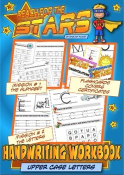 Handwriting Workbook (upper case letters) - CC L.K.1You will find: Teaching tips on how to structure the lessons 5 different cover pages (black & white  easier to copy) 4 worksheets for each letter 6 worksheets for the entire alphabet 1 set of A4 flashcards 6 Reach-For-The-Stars certificatesDownload the preview to see more about this product.This workbook is a set of worksheets to learn and consolidate handwriting fine motor skills and visual perceptual skills. It is perfect for Kinders…
