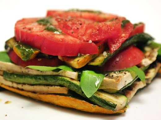 grilled vegetable and tofu lasagna with pesto.. yumm!! by mimmy