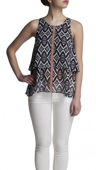 sbuys - Aztec print layered top #sbuys #spring #aztec #layered #print Shop now at www.sbuys.in