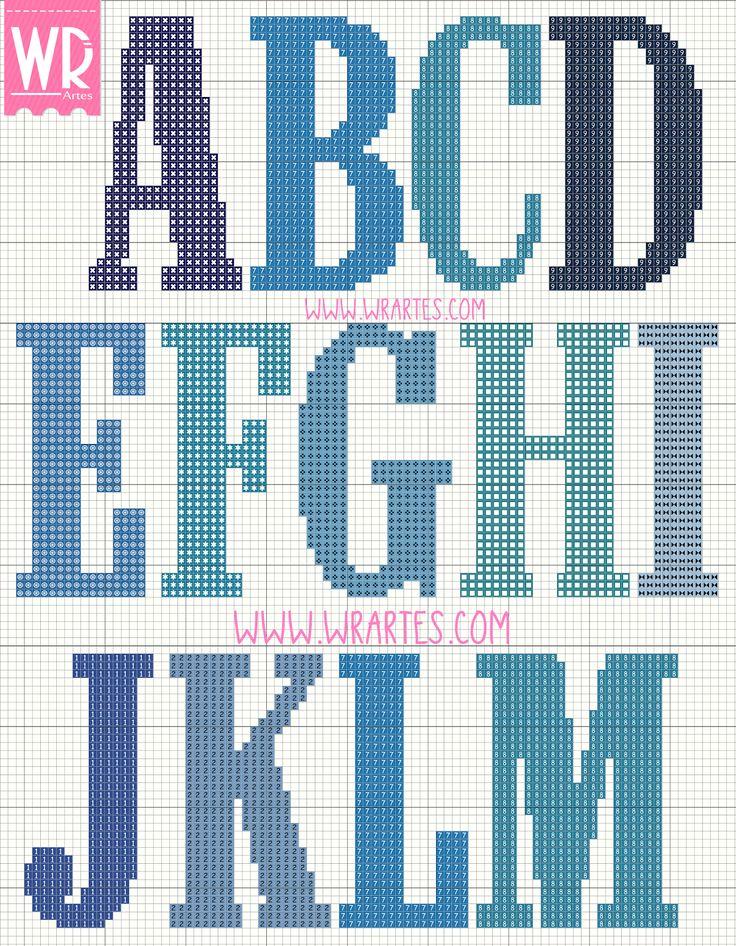 Gráfico alfabeto masculino para ponto cruz