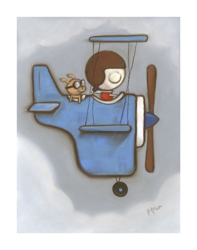 Woof!Aviators Art, Greenwood Aviators, Woof, Art Biplane, Aviation Art, Robert Greenwood