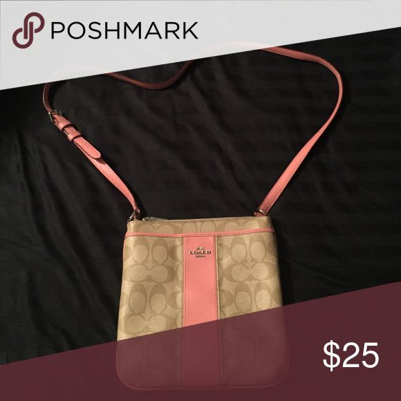 Coach Swingpack Pink and tan original Coach swing pack purse. Good condition. Bags Crossbody Bags