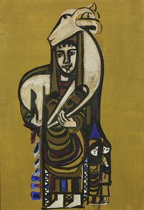 "Bedri Rahmi Eyuboglu, ""Woman and Goat,"" 1964, oil on canvas, 39 by 27 inches, went out at $18,400."