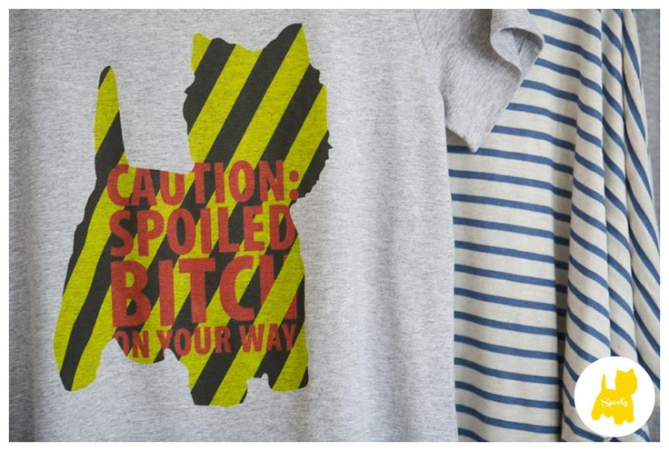 Caution: Spoiled Bitch on Your Way    T-shirt stamp for #Spooly new collecion! © Vicky Lafazani