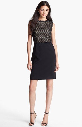 Ivanka Trump Mixed Media Sheath Dress | Nordstrom