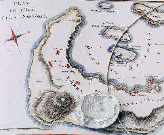 Santorini Map Unisex Sterling Silver Necklace