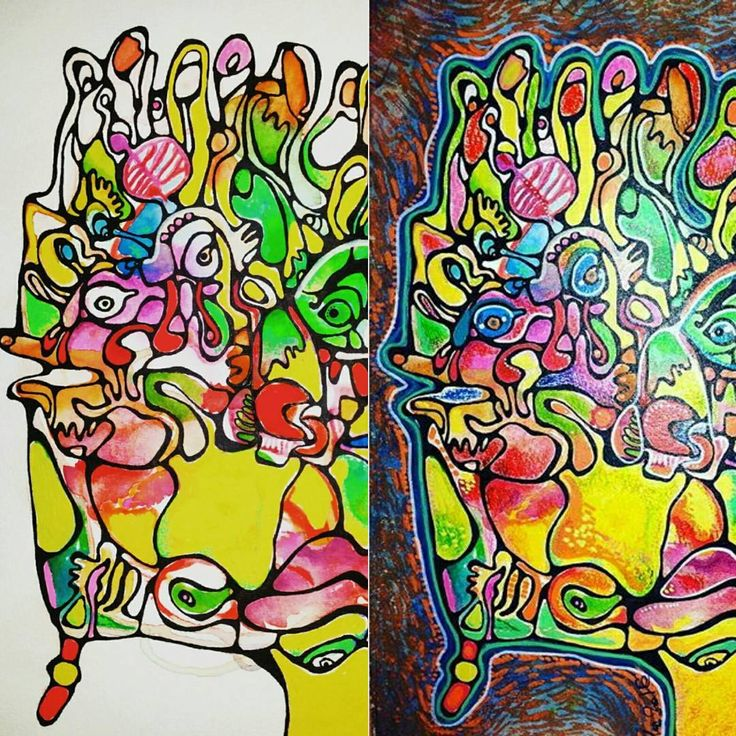 Before & after (mixed media on watercolor paper)  #coloraida #outsiderart