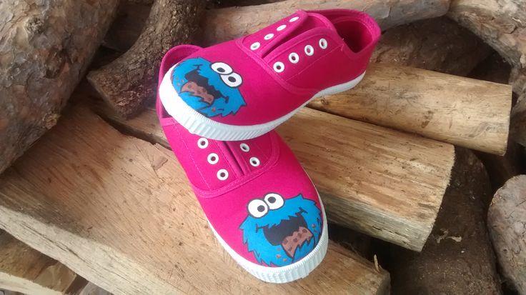 Zapatillas de lona pintadas a mano monstruo de las galletas