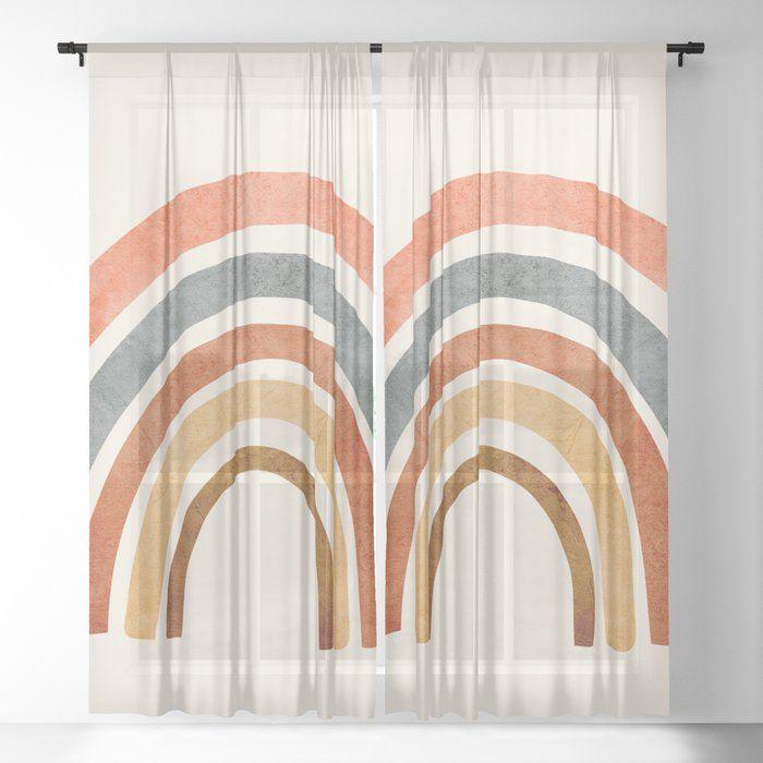 Abstract Rainbow 88 Sheer Window Curtains Dormroomdecor Curtains