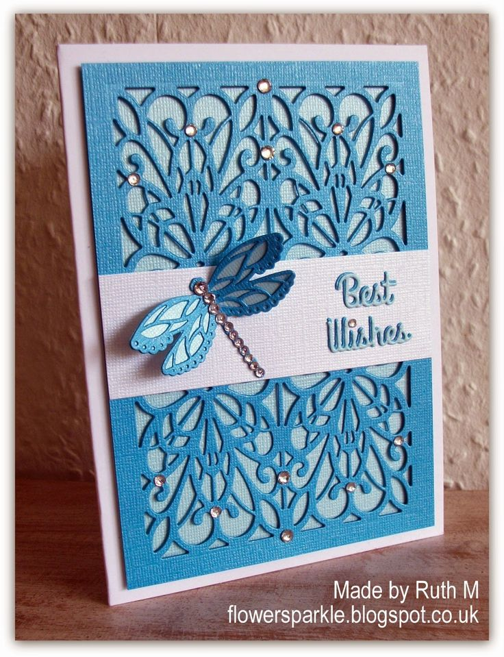 Flower Sparkle: Regal Striplet Background Dragonfly Best Wishes Card