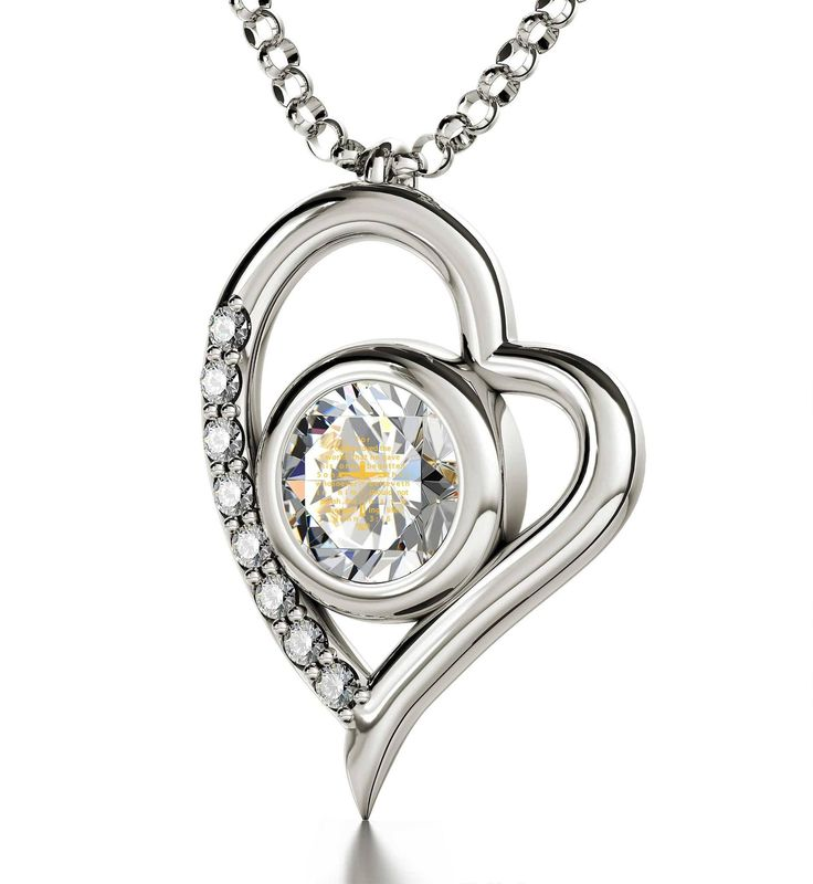 """""""John 3:16"""", 925 Sterling Silver Necklace, Swarovski. John 3:16 and Crucifix inscribed exclusively in 24k pure gold Swarovski Crystal 925 Sterling Silver heart frame (25mm x 16.5mm) 925 Sterling Silver Italian Rolo chain, 18"""" (45cm) - Standard Size for Women May this womens silver jewelry always remind her of the Lord's love for this world Thoughtful gift for young women lovingly bundled with a petite magnifying glass inside a pretty box"""