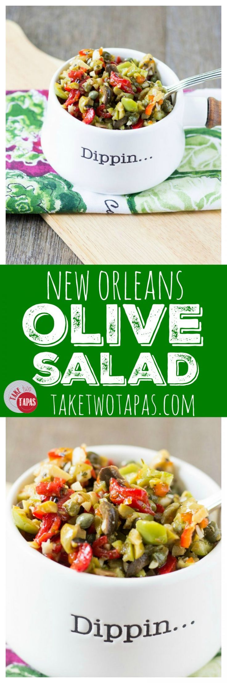 This salad is a mixture of garlic, assorted olives, and vinegar with some peppers thrown in there too. Use it to top a cracker, hang out with your boring chicken, or make an authentic New Orleans Muffuletta sandwich! New Orleans Olive Salad Recipe | Take Two Tapas