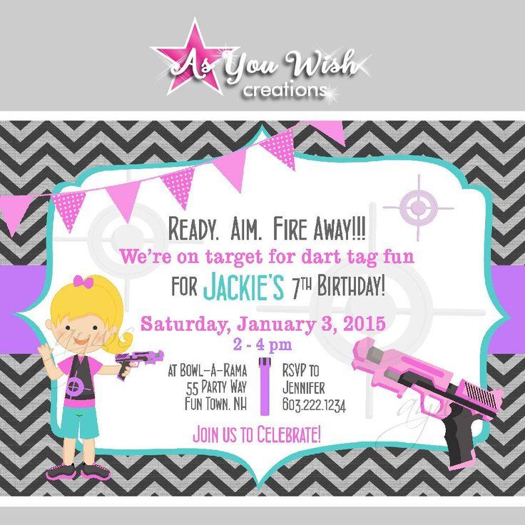 Best 25 Girl nerf guns ideas – Nerf Gun Birthday Party Invitations
