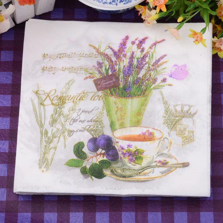 33*33 cm 20 Unids/pack Lavanda Flor De Papel Partido Servilleta 100% De Madera Virgen Servilleta De Papel para la fiesta de la cena de la decoración