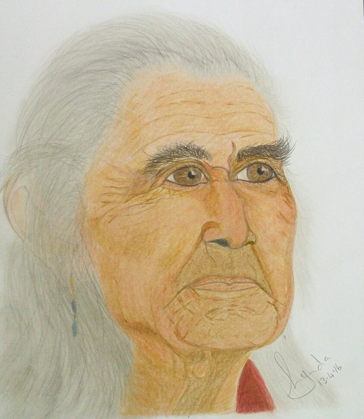 'Chief Dan George' coloured pencil and pastel drawing by Lynda Colley Originals