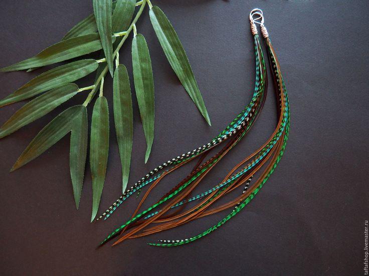 Серьги с перьями - Лесная тень, зелёный, коричневый - серьги с перьями, серьги с перьями нарядные