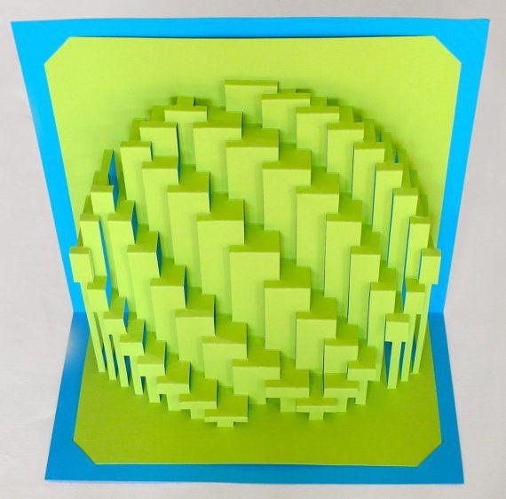 "DIY Template - ""Obloid Zigzag"" Kirigami Pop-up paper sculpture"
