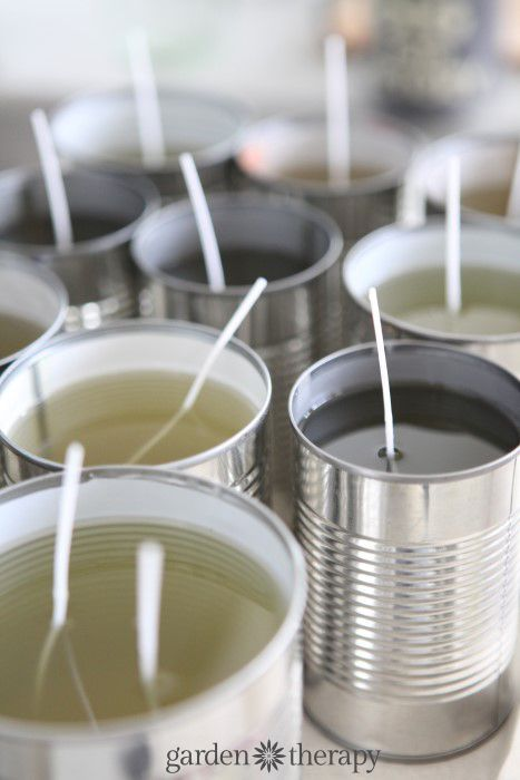 How to make citronella candles from upcycled tin soup cans, recycled candle wax and natural citronella oil.