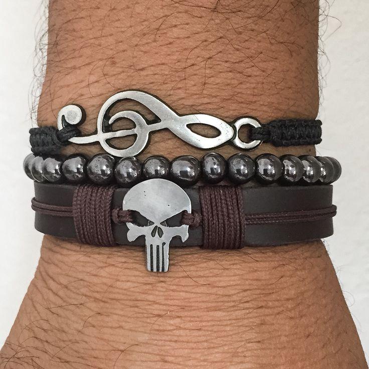 Kit pulseiras masculinas www.cocarbrasilacessorios.com.br