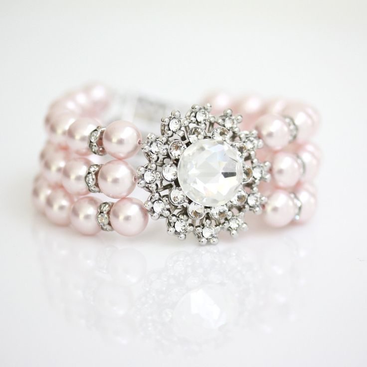 Breathtaking! Pink Pearl Bridal Bracelet Swarovski Crystal Pearl Cuff Bracelet Vintage style ANNELISSE