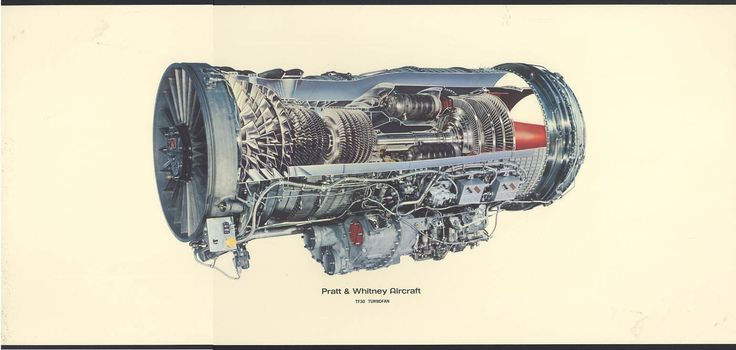Pratt Whitney Aircraft Tf30 Turbofan Jet Engine Cutaway