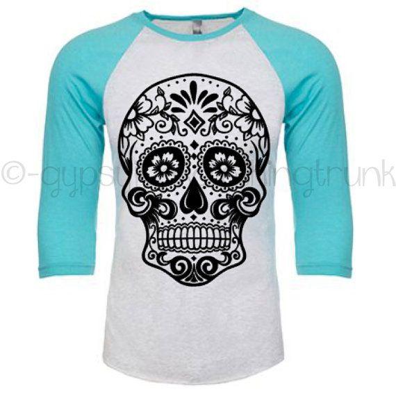 Sugar Skull Raglan Shirt - Sugar Skull Shirt - Skull Apparel - Day of the Dead Print - Boho Shirt - Turquoise Long Sleeve Shirt by GypsyJunkClothing