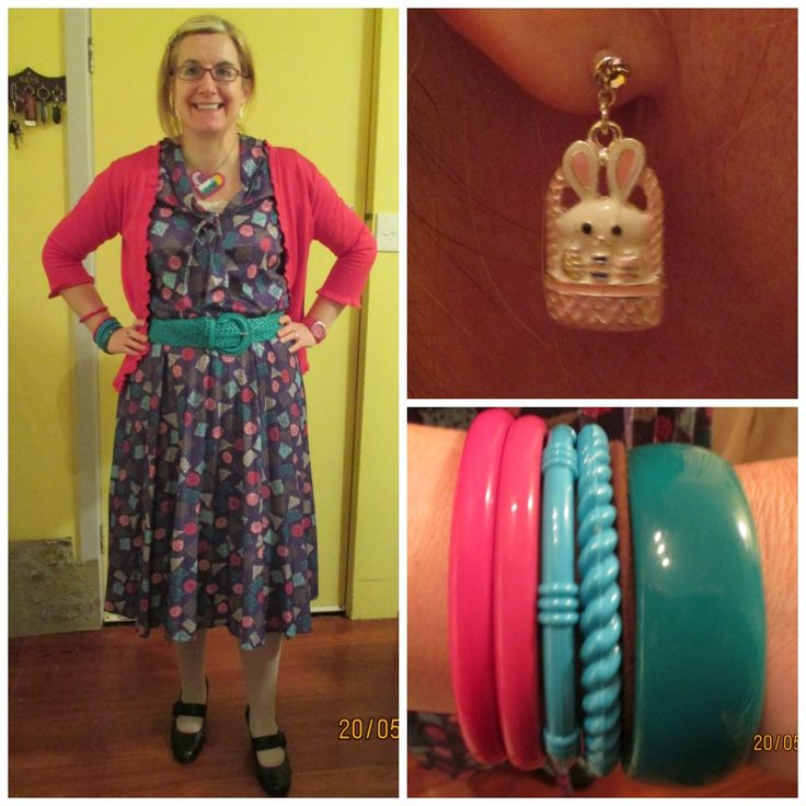 Polyester dress with pleated skirt and pussy bow tie collar.  Easter earrings on sale and thrifted bangles. Awesome heart necklace made by my darling 12 yo, when she was about 7yo.
