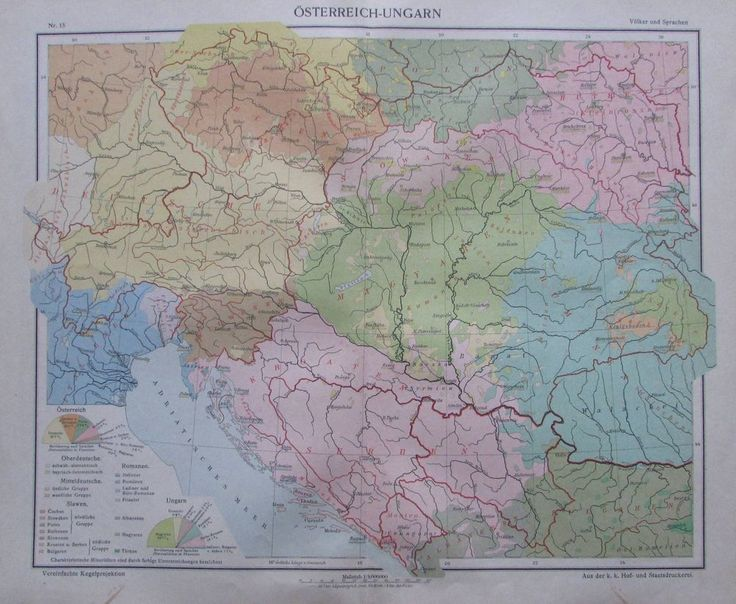 Österreich-Ungarn Völker und Sprachen - 35x29cm Karte aus 1913 old map
