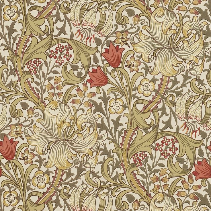 The Original Morris & Co - Arts and crafts, fabrics and wallpaper designs by William Morris & Company | Products | British/UK Fabrics and Wallpapers | Golden Lily (DM6P210400) | Morris Archive Wallpapers