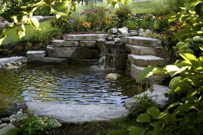 Bachlauf-Garten-Teich-Lage-Wasserpflanzen