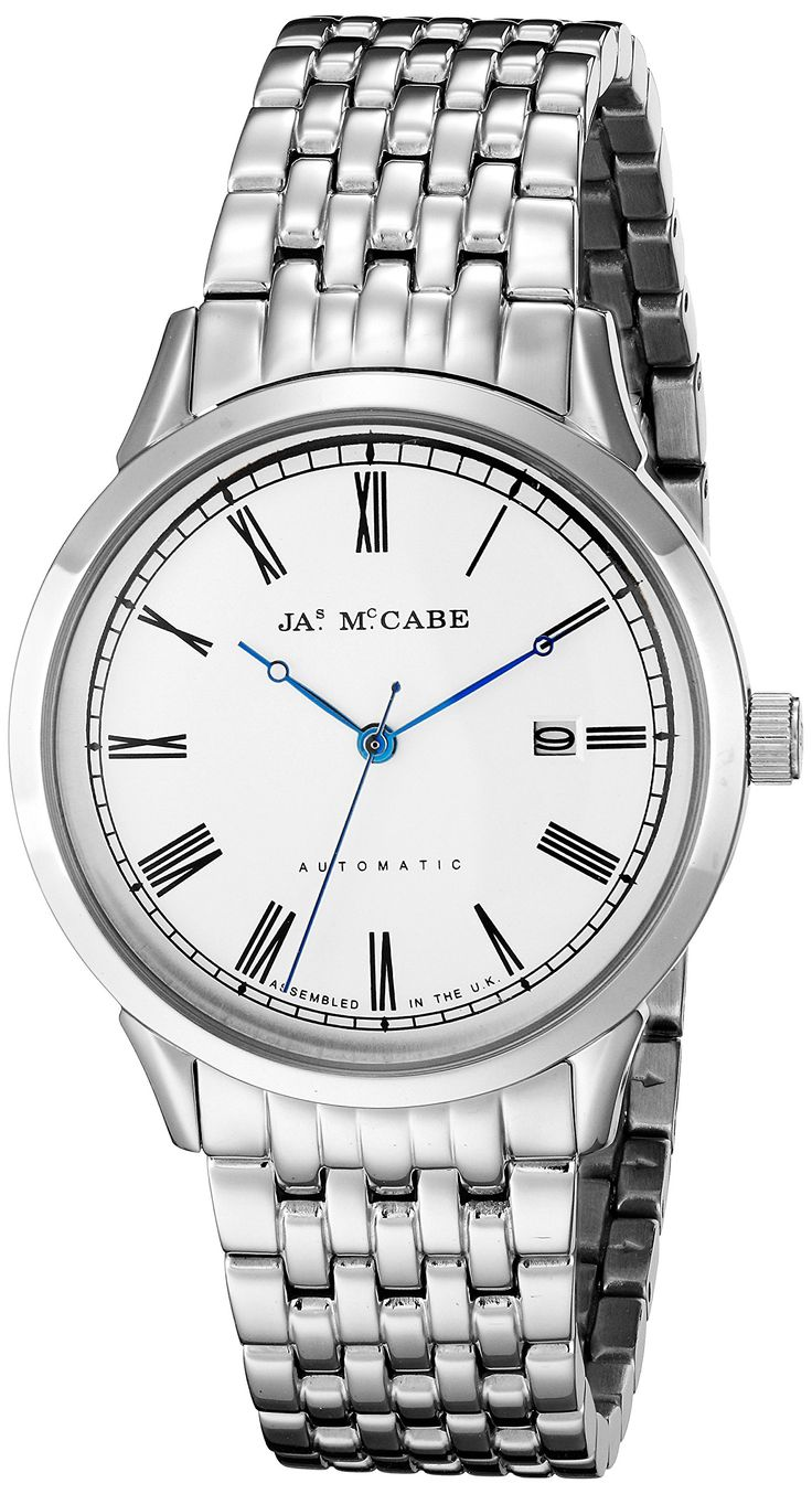 James McCabe Men's JM-1021-11 Heritage Analog Display Japanese Automatic Silver Watch. Assembled in the UK, this James McCabe watch from the heritage collection is powered by a precise Japanese automatic movement. Elegant hour/minute/second hands, sleek indexes and roman numerals, and a subtle date window makes this watch a perfect addition to an wardrobe. Stainless steel case; stainless steel bracelet; water resistant to 30 meters (99 Feet). Japanese-automatic movement. Case diameter…