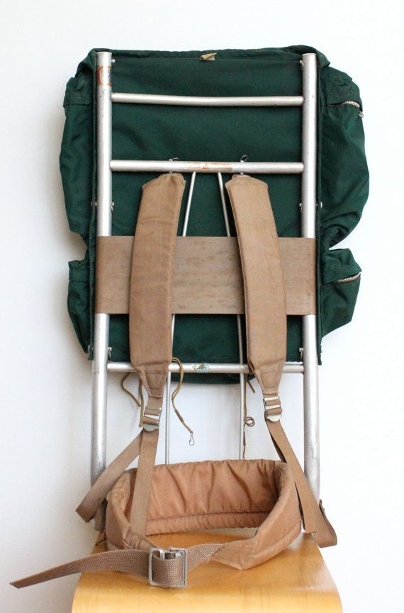 vintage camp trails external frame back pack aluminum metal frame backpack green camping