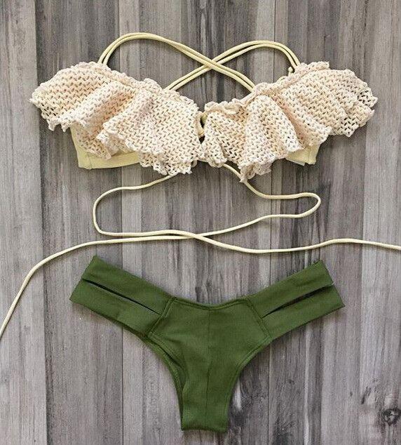Caribbean Vibes Peasant Style Top Bikini Set