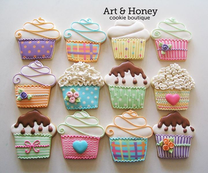 cupcake cookies. Galletas decoradas. Cupcake