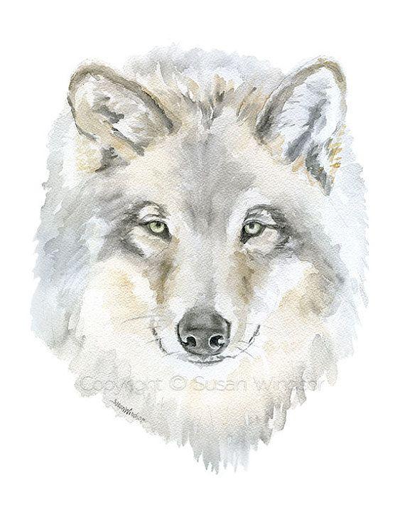 Lobo gris acuarela pintura 8.5 x 11 arte Giclee por SusanWindsor
