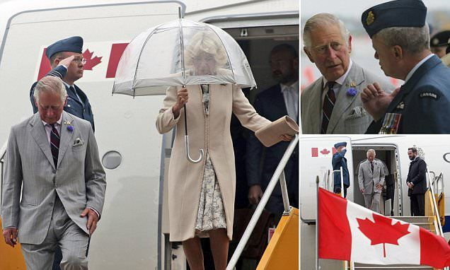 The second leg of Charles and Camilla's three-day Canada tour looked set to be a washout, as the couple were greeted with heavy rain at the Canadian Forces Base (CFB) in Trenton, Ontario.