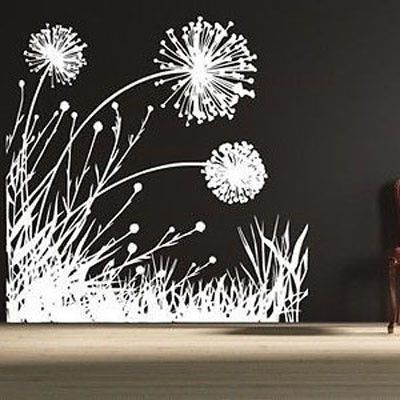 "Dandelion Scene Vinyl Wall Decal HB76 Dandelions Wall Decal- by Decor Designs Decals 58"" WIDE x 58"" HIGH Available in the color of your choice!! We now have 21 MATTE FINISH COLORS to choose from!!! Se"