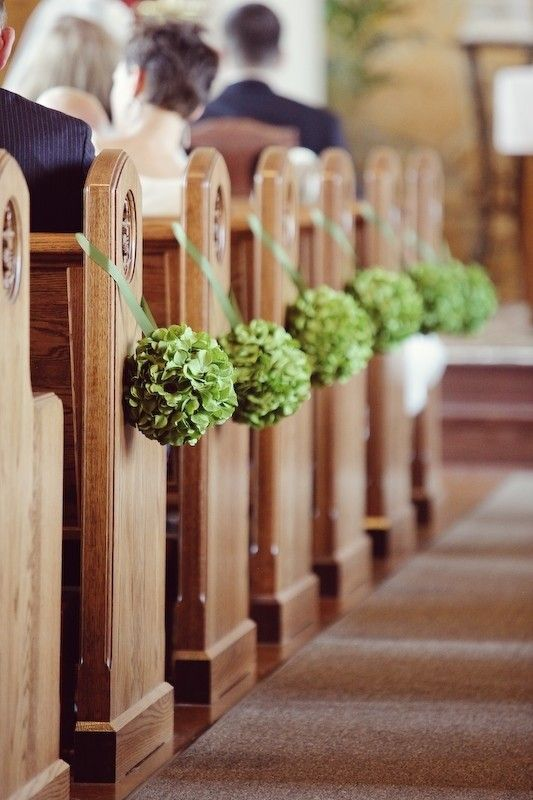 DIY Church Wedding Decor, green flower balls aisle decor, church wedding pictures www.dreamyweddingideas.com
