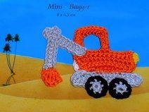 Kleiner Bagger, Baufahrzeug, Applikation Kinder