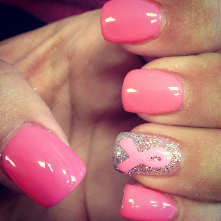 Breast Cancer Awareness Nails :) simple but cute...too much art looks tacky.
