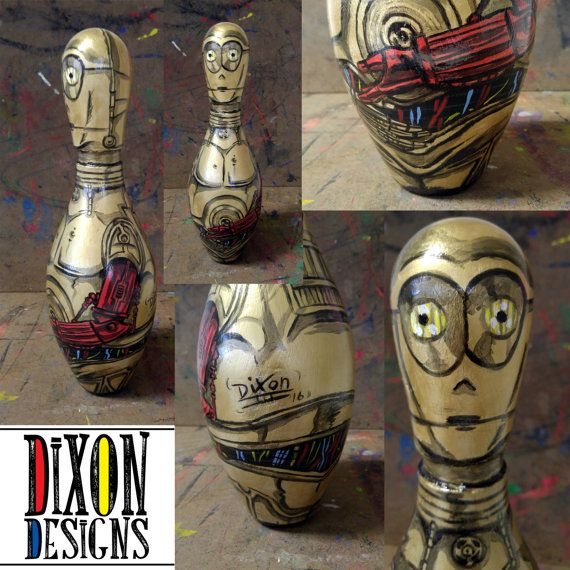 Human Cyborg Relations - C3P0 Bowling pin sculpture by Lee Dixon. Available by commission on Etsy.  https://www.etsy.com/listing/452283066/human-cyborg-relations-c-3p0ep-7-bowling