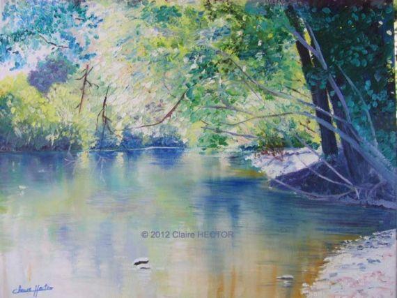 Tableau peinture dordogne eau reflets souillac paysages for Artiste peintre dordogne