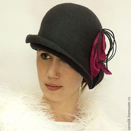 """Шляпы ручной работы. Шляпка """"Тень ушедшей любви"""". Авторские шляпки Елена Барабашова. Ярмарка Мастеров. Черная шляпка"""