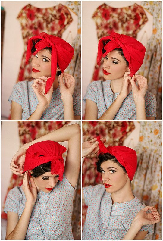 Retro hair scarf how-to #50s #hair #tutorial