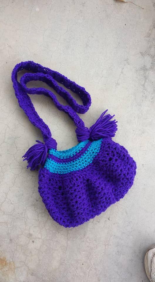 Crochet Hippie Bag Hippie Purse Purple and by YaYaHippieEmporium
